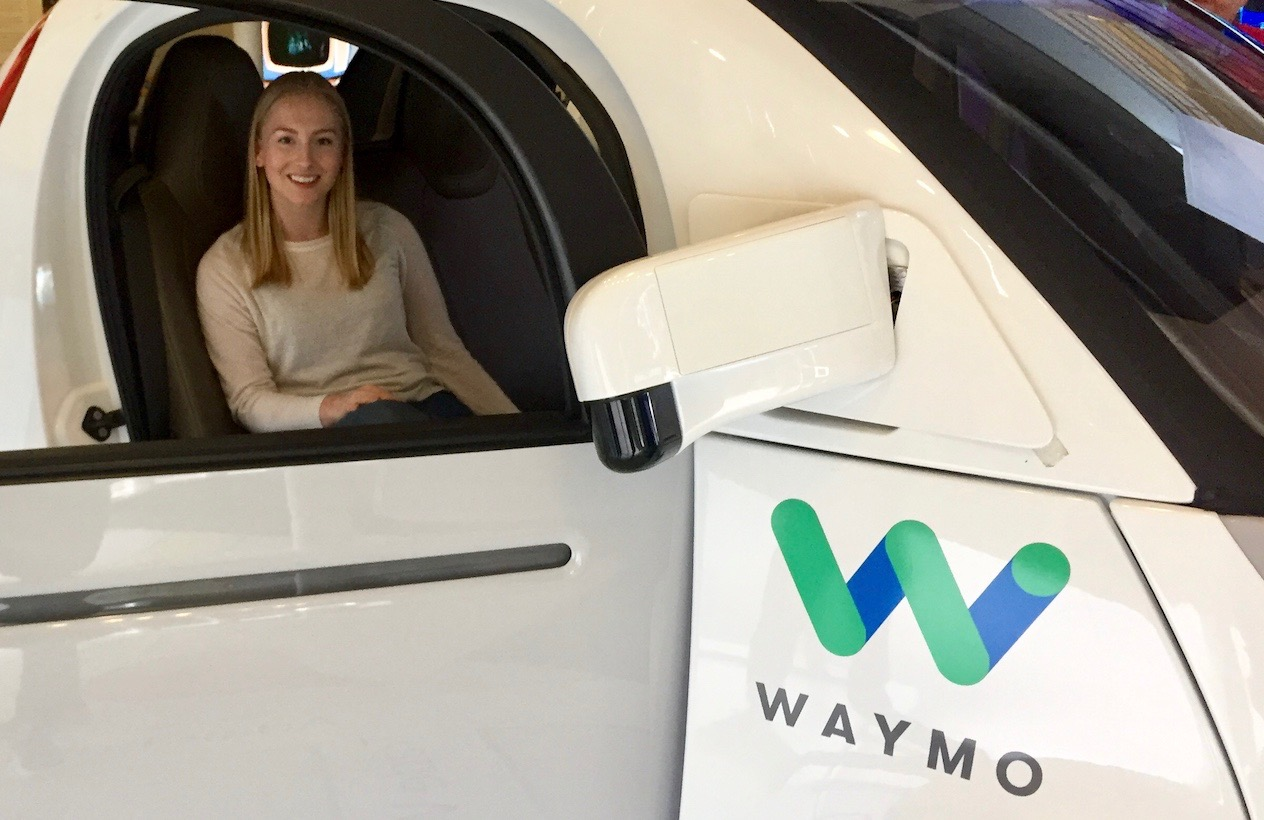 Anne Staaby in a Waymo self driving car – a subsidiary of Google's parent company, Alphabet Inc.